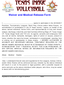 Waiver And Medical Release Form - Texas Image Sand