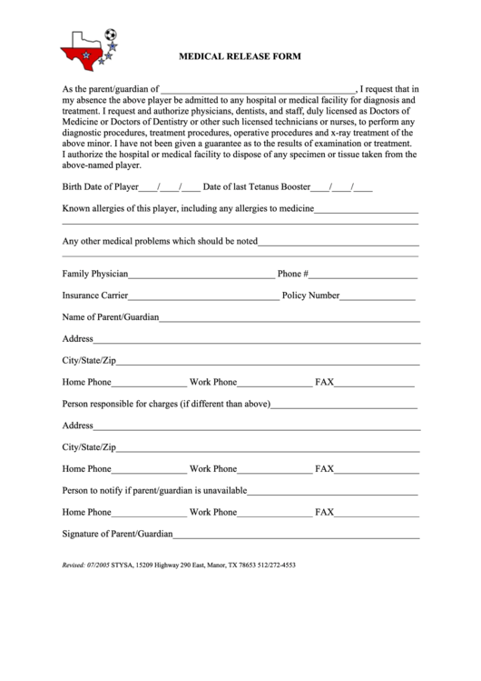 Stysa Medical Release Form
