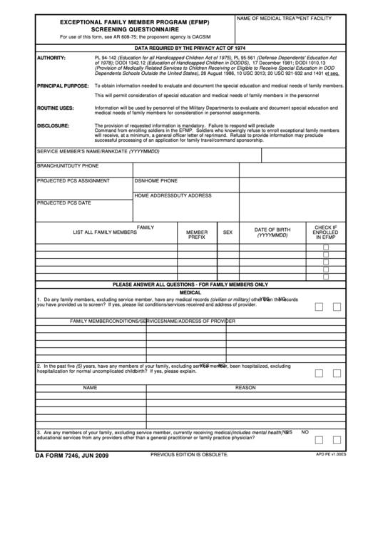 Da Form 7246 - Exceptional Family Member Program (Efmp) Screening Questionnare Printable pdf