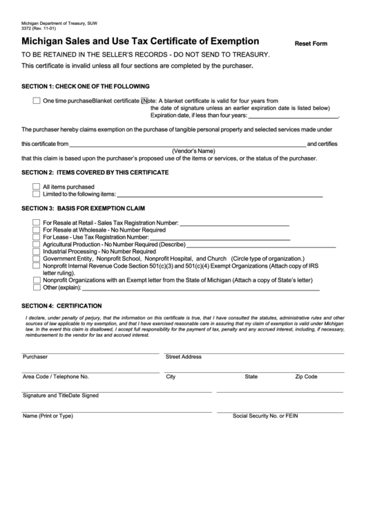 Top 15 Michigan Tax Exempt Form Templates free to download in PDF ...