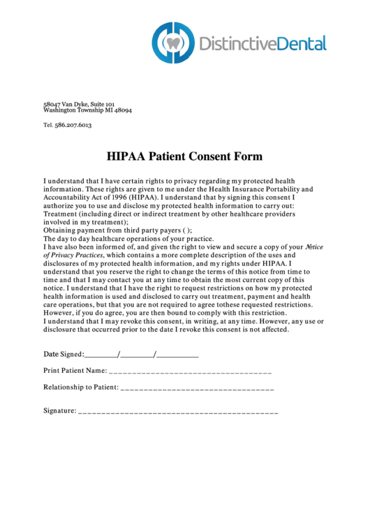 Hipaa Patient Consent Form - Distinctive Dental