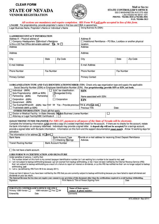 State Of Nevada Vendor Registration
