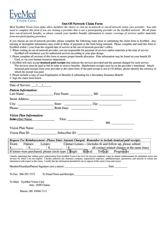 Out-Of-Network Claim Form Date Of Service - The Standard Printable pdf