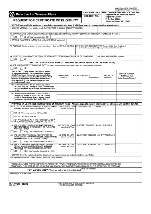 Request For Certificate Of Eligibility - Va Form 26-1880 W/o Instructions