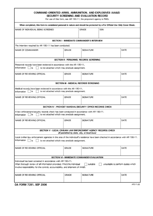 Da Form 7281 - Command Oriented Arms, Ammunation, And Explosives (aa&e) Security Screening And Evaluation Record - 2006
