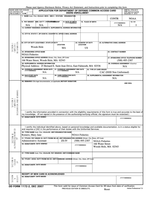 Fillable Dd Form 1172-2 2007, Application For Department Of Defense Common Access Card Deers Enrollment Printable pdf