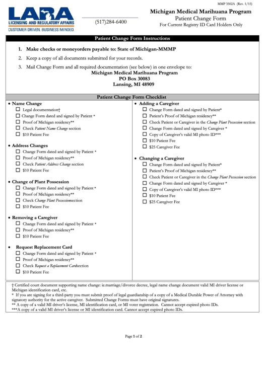 Patient Change Form - State Of Michigan printable pdf download
