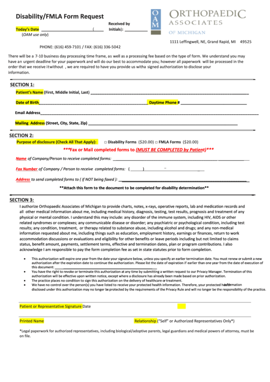 Disability/fmla Form Request - Orthopaedic Associates Of Michigan