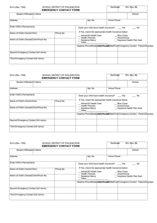 school district of philadelphia emergency contact form