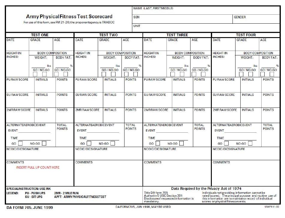 1999 Da Form 705 - Army Physical Fitness Test Scorecard ...