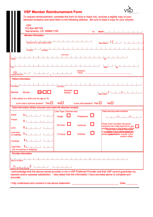 Fillable Vsp Claim Form County Information Resources