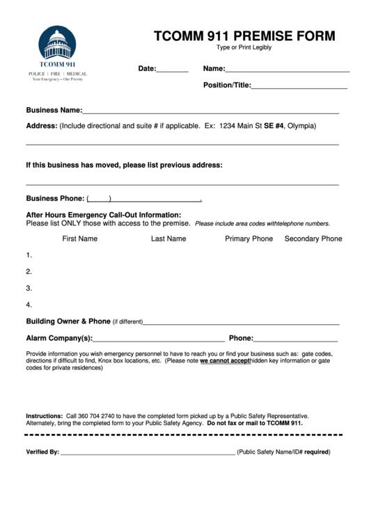 Tcomm 911 Premise Form
