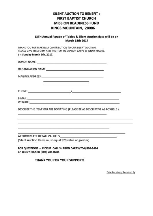 Silent Auction Sheet - First Baptist Church Kings Mountain