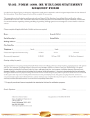 W-2g, Form 1099, Or Win/loss Statement Request Form