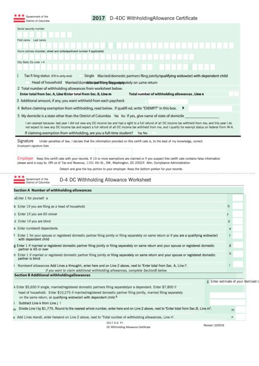 dc tax form d 4