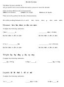Metric System Math Worksheet