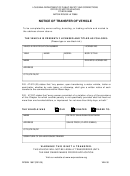 Form Dpsmv 1697 - Notice Of Transfer Of Vehicle