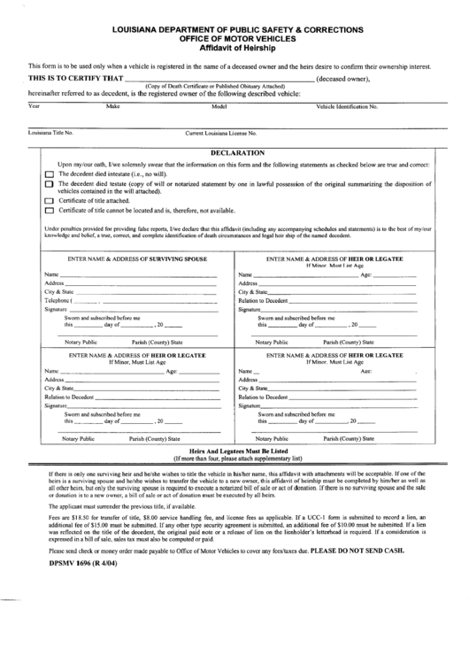 Form Dpsmv 1696 Louisiana Affidavit Of Heirship