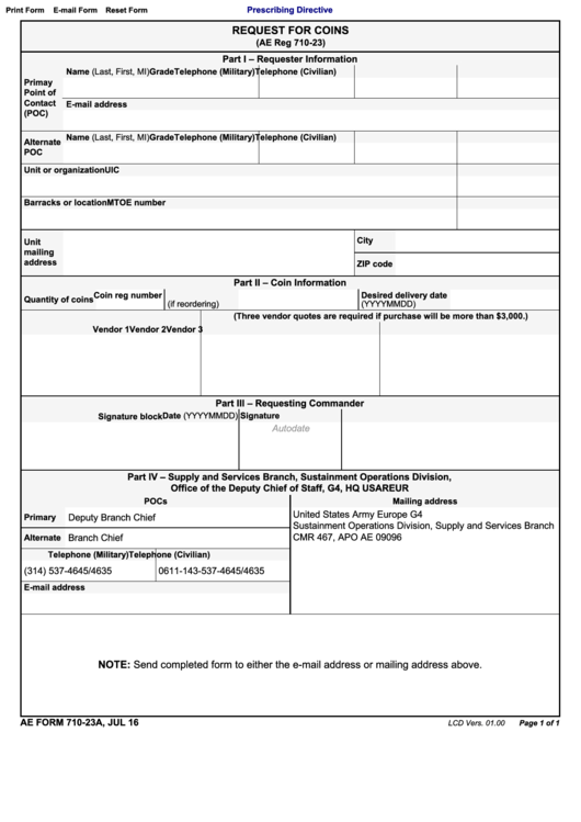 Ae Form 710-23a Request For Coins