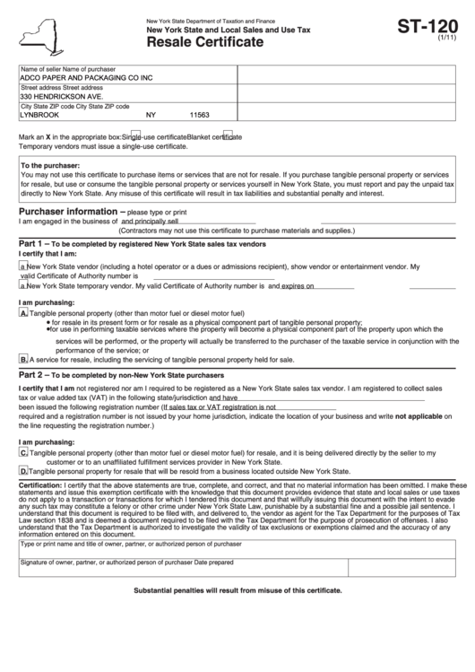 Top New York State Form St-120 Templates free to download in PDF format