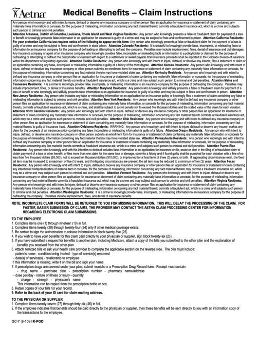 Form Gc-7 - Aetna Medical Benefits Request Form printable pdf download