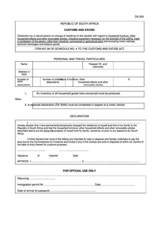 South Africa Customs And Excise Form