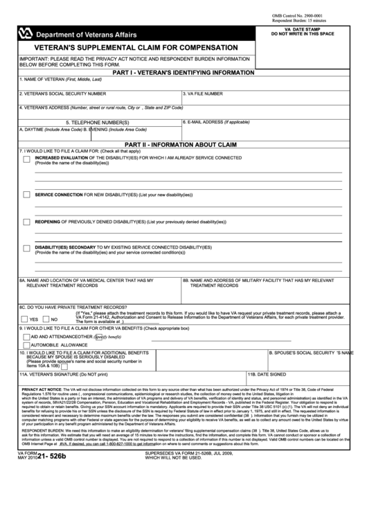 Va Form 21-526b - Veteran's Supplemental Claim For Compensation