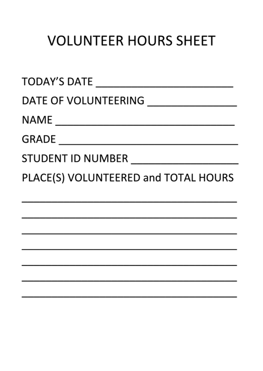 Volunteer Hours Form printable pdf download