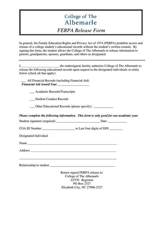 Top 14 Ferpa Consent Form Templates free to download in PDF, Word ...