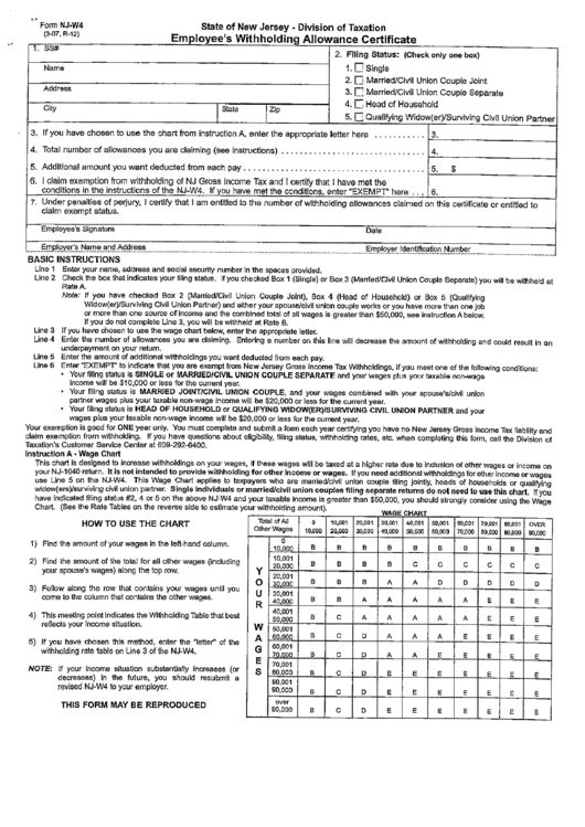 Nj Form W-4 - Employee's Withholding Allowance Certificate - New Jersey