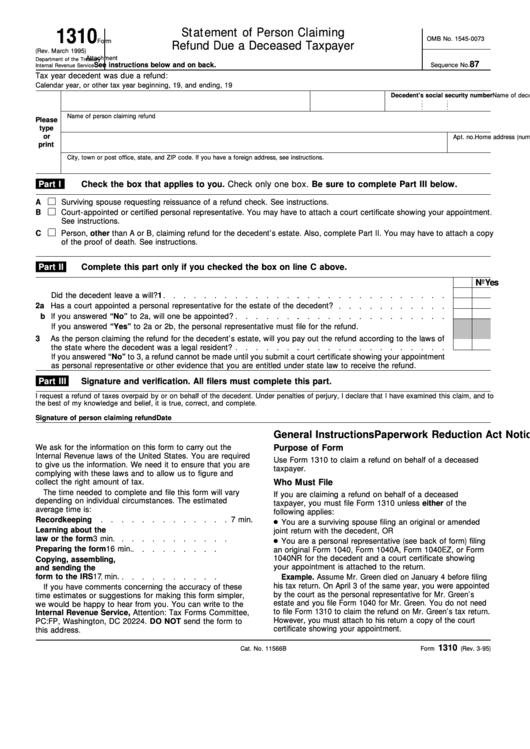 About Form 1310 | Internal Revenue Service - irs.gov