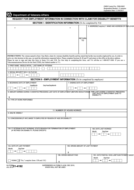 Va Form 21-4192 - Request For Employment Information In Connection ...