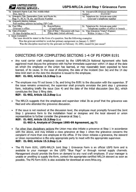 Usps-nrlca Joint Grievance Form