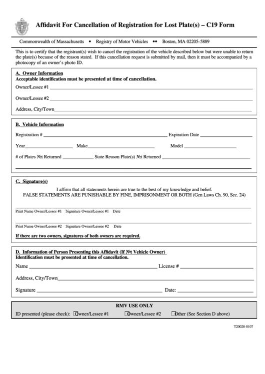 Affidavit For Cancellation Of Registration For Lost Plate(S) - C19 Form Printable pdf