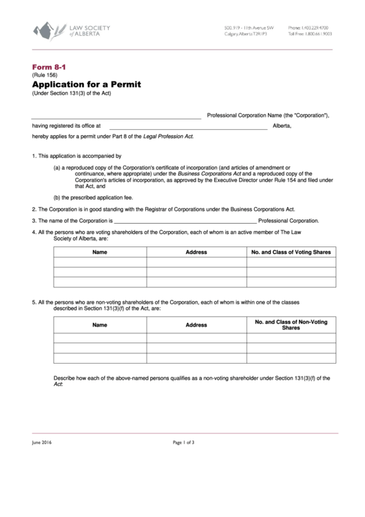Form 8-1 - Application For A Permit (under Section 131(3) Of The Act)