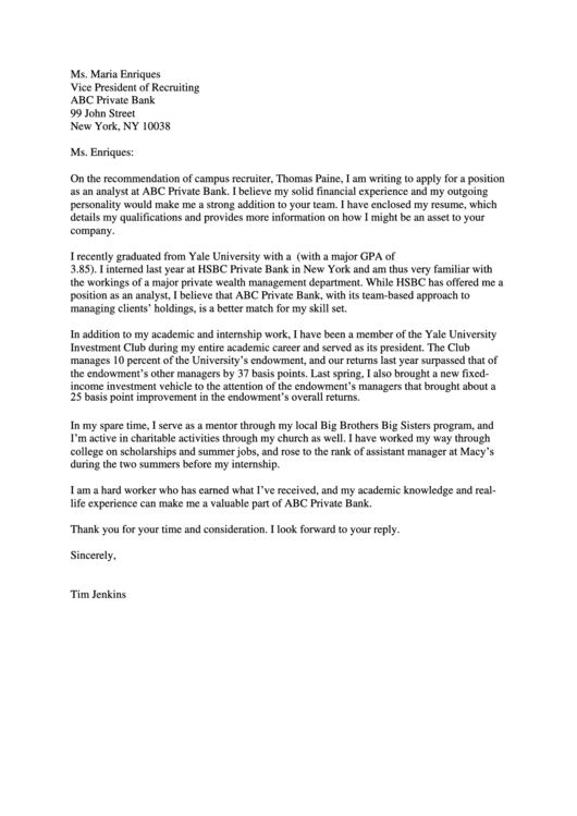 Recommendation Of Campus Recruiter - Personal Recommendation Letter Sample Printable pdf