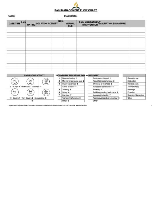 Pain management flow chart adventist aged care printable for Pain management templates