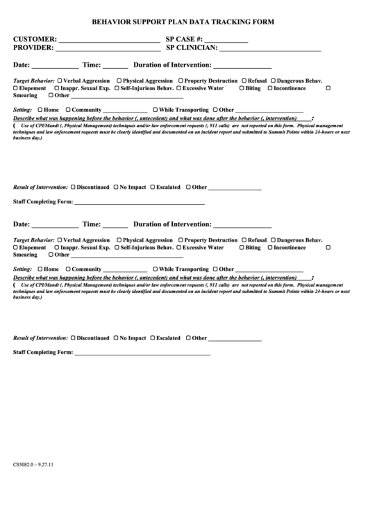 Behavior Support Plan Data Tracking Form