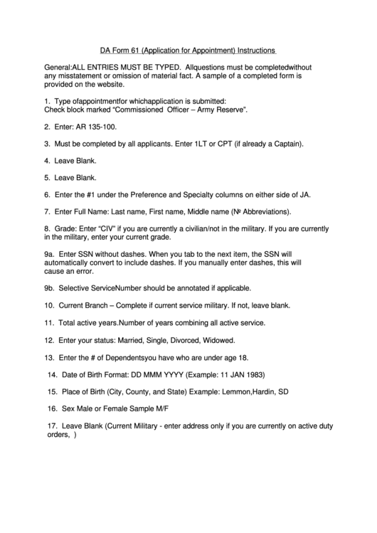Da Form 61 Instructions - Application For Appointment Printable pdf
