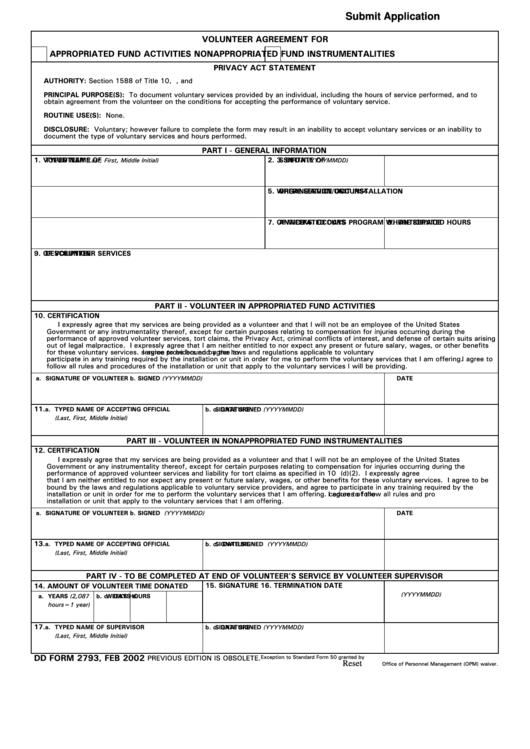 Fillable Dd Form 2793 - Volunteer Agreement Form Printable pdf