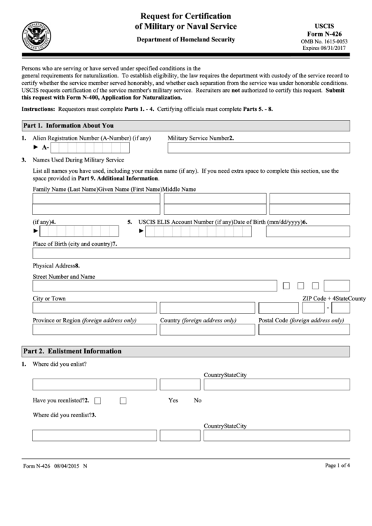 Uscis Form N-426 - Request For Certification Of Military Or Naval ...