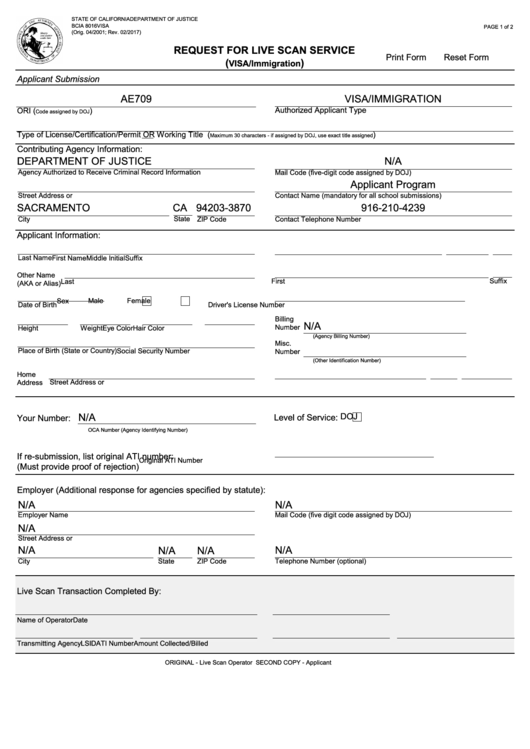 Fillable Bcia 8016visa, Request For Live Scan Service Printable pdf