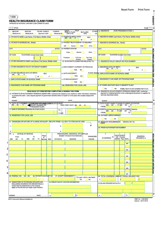fillable form owcp 1500 health insurance claim form