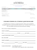 Lee M. Perlman Durable Power Of Attorney Questionnaire
