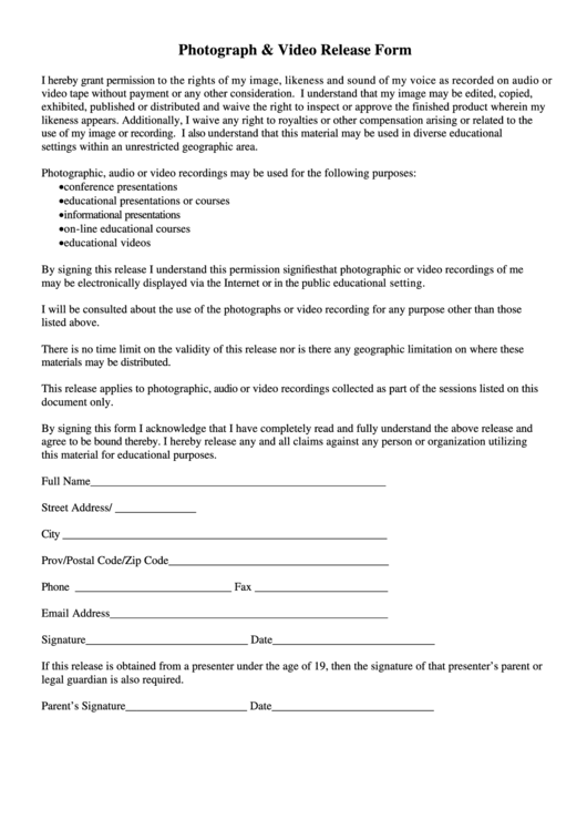 Fillable Photograph And Video Release Form Printable pdf