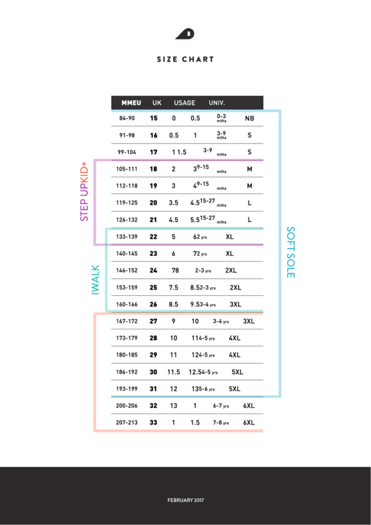 Soft Sole Size Chart Printable pdf