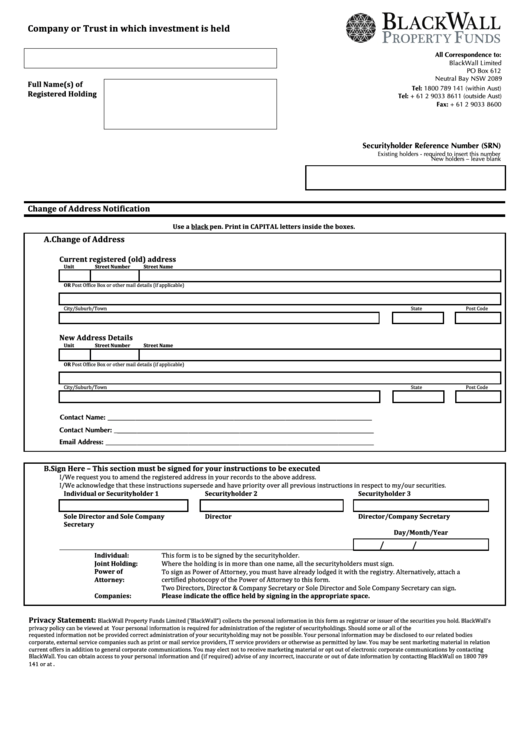 Change Of Address Form - Black Wall Property Funds
