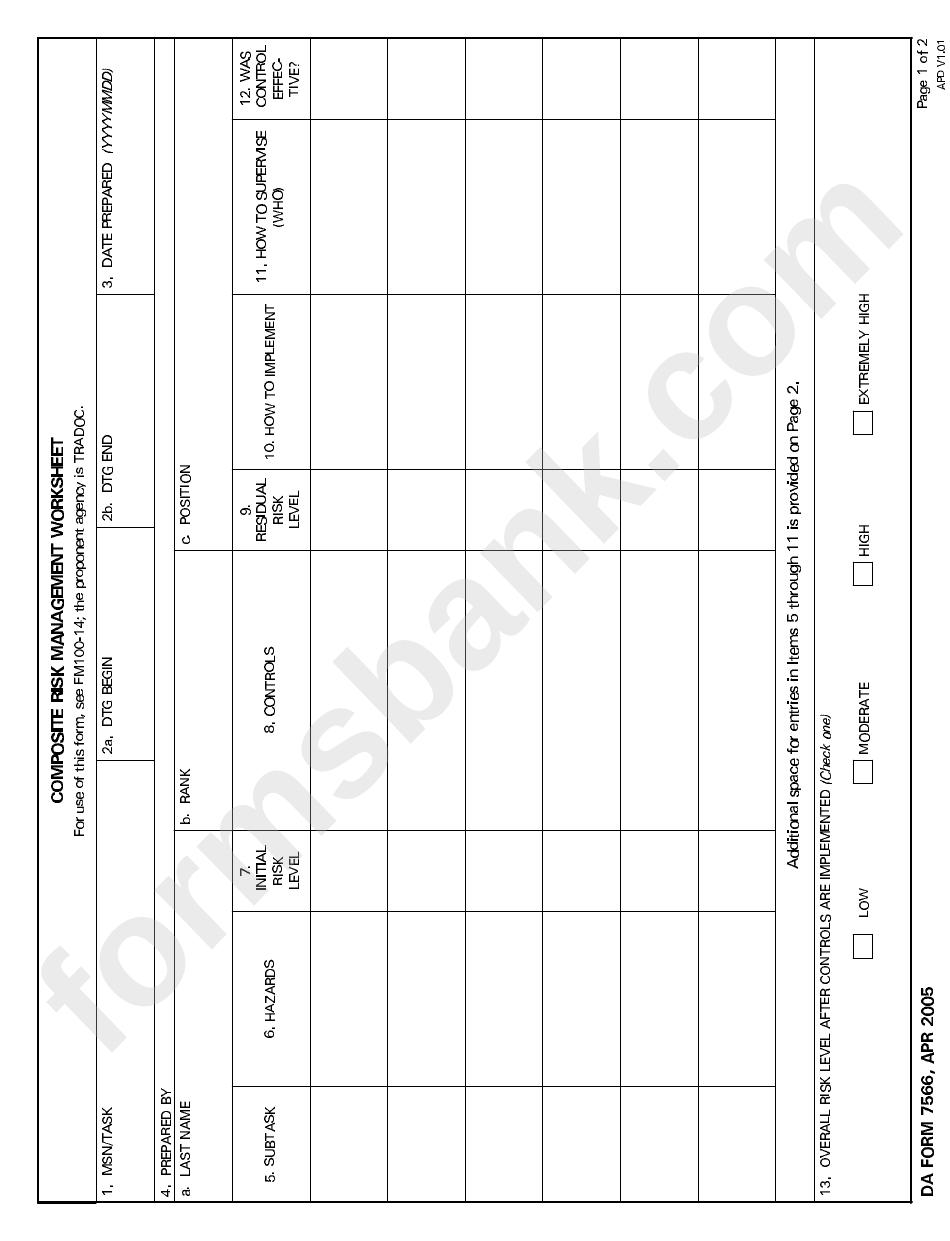 Da Form 7566 - Composite Risk Management Worksheet