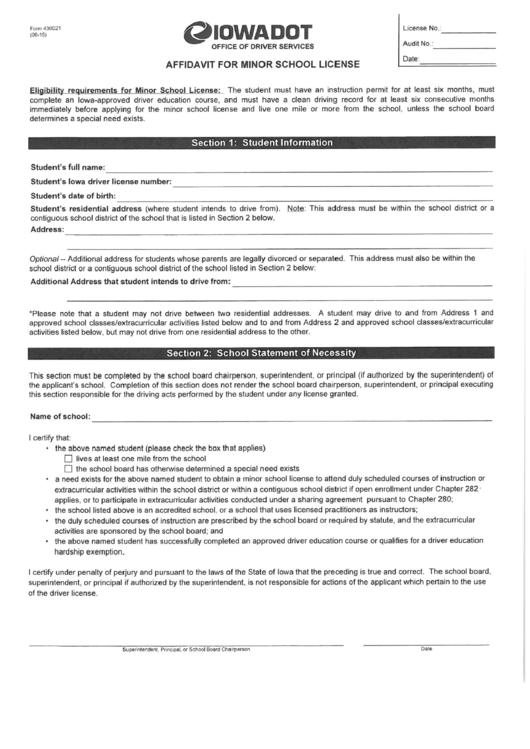 affidavit for minor school license
