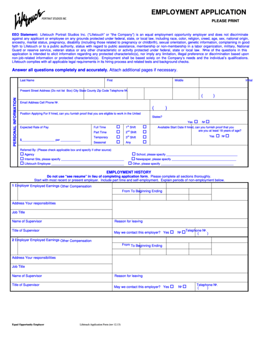 fillable employment application form life touch printable pdf download